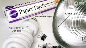 Parchment Paper | Clamp Light | Binder Clips | Alzo 5500k 27 watt bulb |